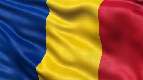 Realistic flag of Romania waving in the wind. Seamless loop with highly detailed fabric texture. Loop ready in 4K resolution.