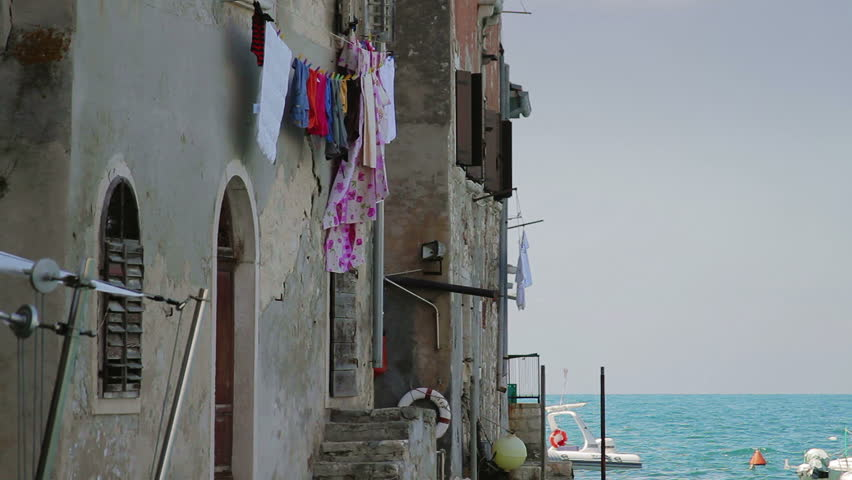 Old houses by the sea, Rovinj, Croatia, July 21, 2011. - HD stock footage clip