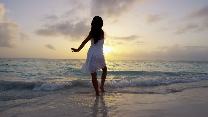 Woman On The Beach In Sunset - Nude Silhouette Stock -6875