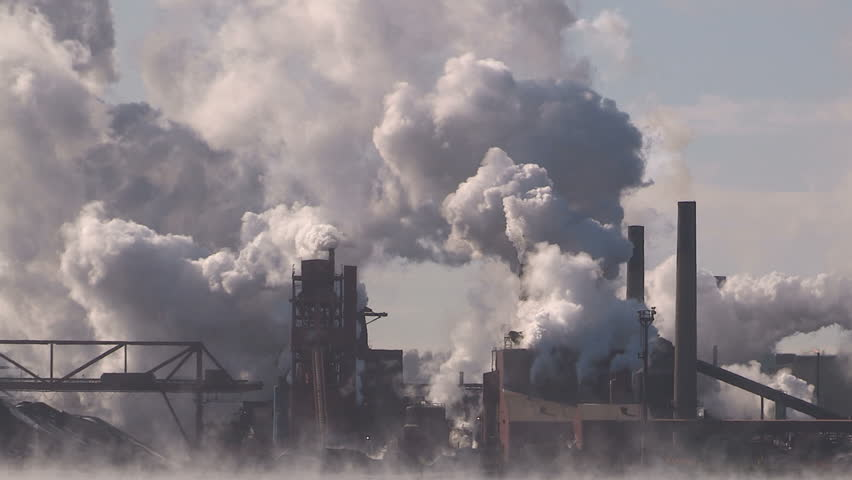 Ontario, Canada February 2016 Clouds of steam and smoke from heavy industry factory and plant  | Shutterstock HD Video #14578498