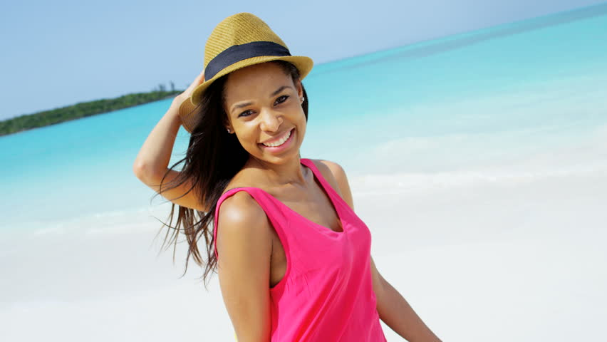 981ade6886b Portrait leisure recreation lifestyle beautiful African American Asian Chinese  girls fashion hat smiling freedom outdoor beach waves RED DRAGON