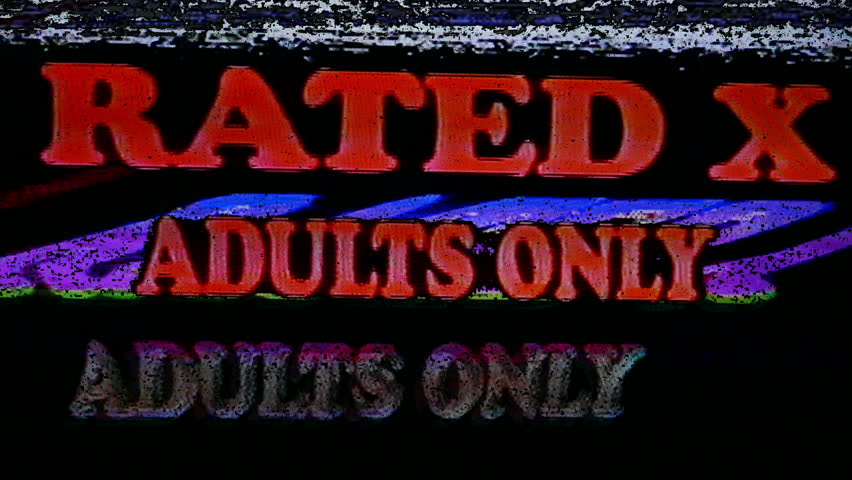 Videotape X Rated Adults Only. Vintage warning Rated X Adults Only videotape with video noise and static.