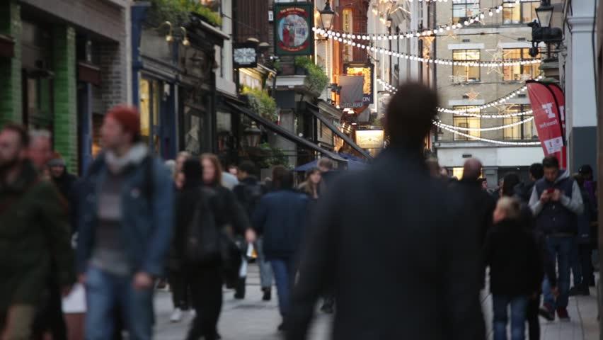 Establishing shot of crowds in London, England, Europe
