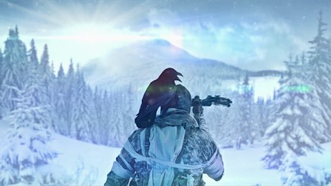 Apocalyptic warrior in a maskshoots stands with a crossbow on a background of a winter forest.