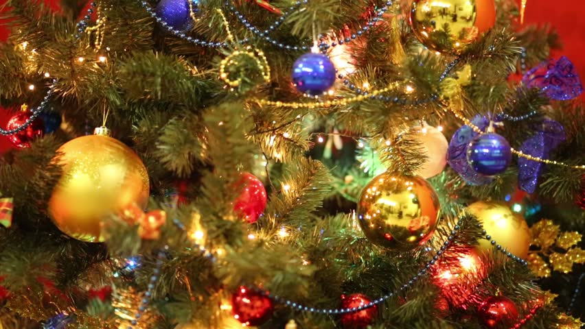 Stock Video Of Close Up Bright Christmas Tree