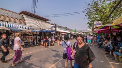Bangkok, Thailand - Feb 20, 2016 Past of Chatuchak, the biggest weekend market in South East Asia. Visit by taking sabway to Kampangpetch Station.