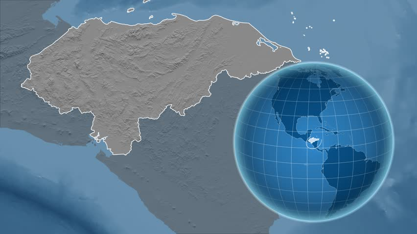 Honduras Shape Animated On The Elevation Map Of The Globe 4k Stock Footage Clip