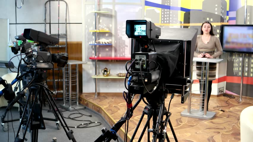Sofia, Bulgaria - 16 February 2016: Studio of news channel, equipment and a woman performer, backstage in Sofia, 16 February 2016 | Shutterstock HD Video #14660878