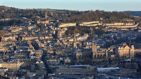 Time lapse with sun rising over the City of Bath