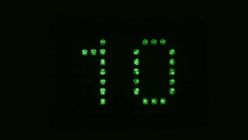 Ten seconds green digital countdown. Video footage of digital counter from ten to zero.