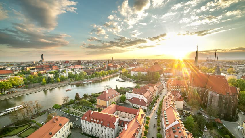Wroclaw Old City Timelapse Sunset Poland | Shutterstock HD Video #14682898