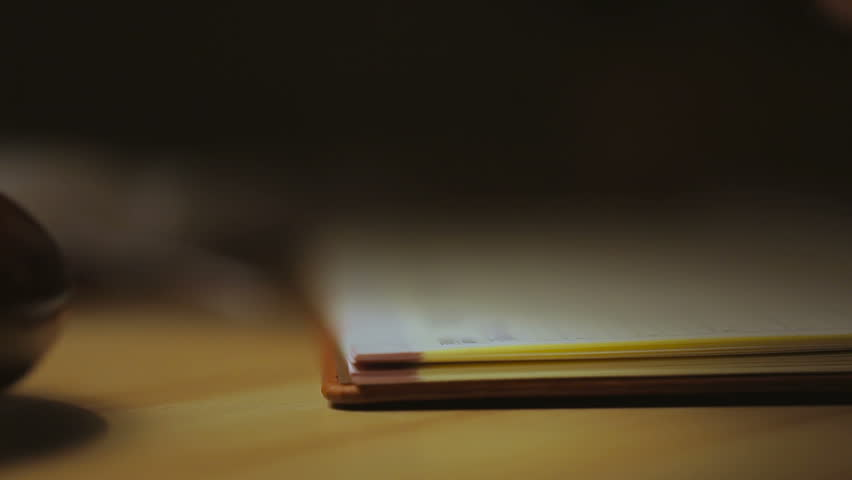 A woman writing into notebook , sitting by a lamp. Closeup.   Shutterstock HD Video #14703718