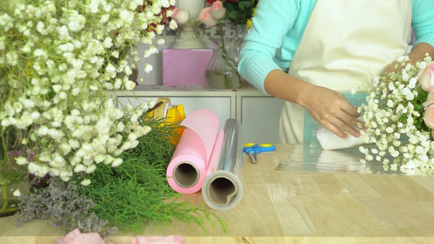 Flower Shop Arranging Flower Bouquet Stock Footage Video 100 Royalty Free 14735098 Shutterstock