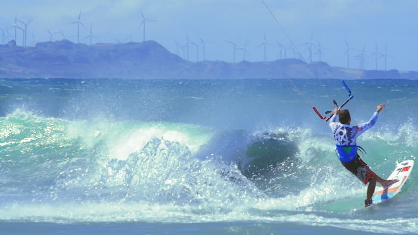 Amazing skills of professional kite surfer. Extreme water sport video background
