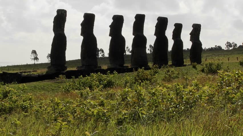 Grass blows in front of the Easter Island statues.