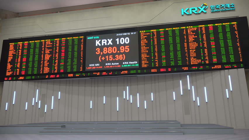 Periodic table of the elements with the 4 new elements nihonium seoul south korea 7 october 2015 ticker board with share prices in the urtaz Images