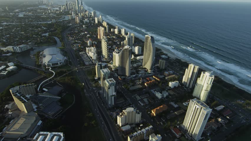 Aerial View of the Broadbeach Pocket of the Gold Coast City Skyline  #14781088