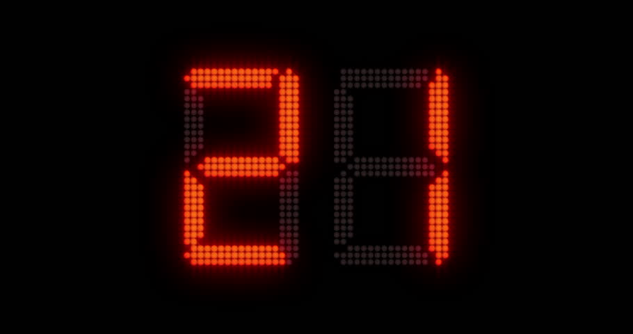 Sports shot clock countdown from 27 to 0. Glowing LED digits with afterglow. (av23163c)