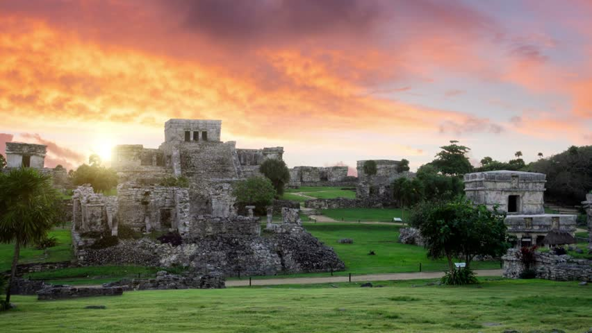 mayan site of tulum at sunrise no people colorful sky