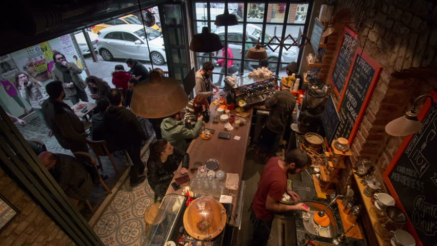 TURKEY, ISTANBUL - February 18, 2016 (Time Lapse): Cute and crowded cafe. Delicious coffee, pleasant conversation.
