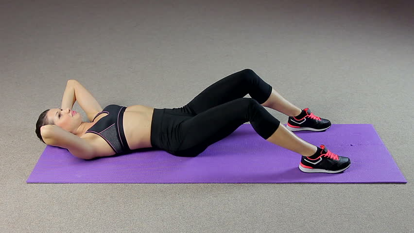 Fit Lady With Ideal Body Doing Abdominal Crunches, Flat Tummy Workout  Routine   HD Stock