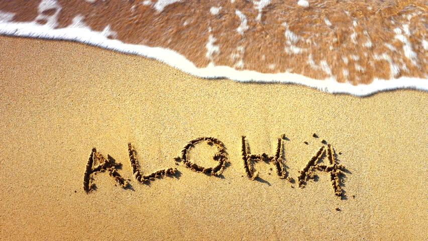 4K Aloha Words Written in Sand, Tropical Hawaii Beach, Travel Vacation