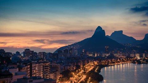 Sunset over Rio De Janeiro Mountains, Brazil. Timelapse