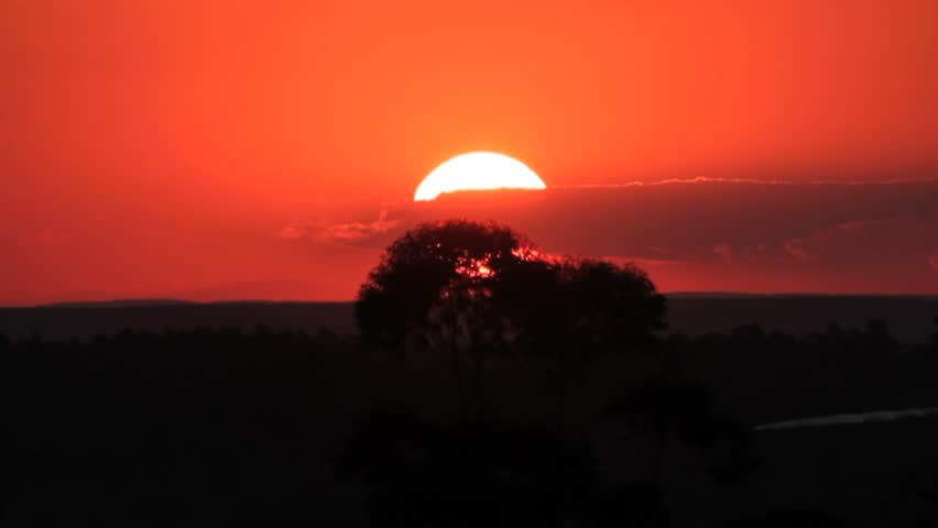 Big sun, sunriser farm, mountains, forest, nature.
