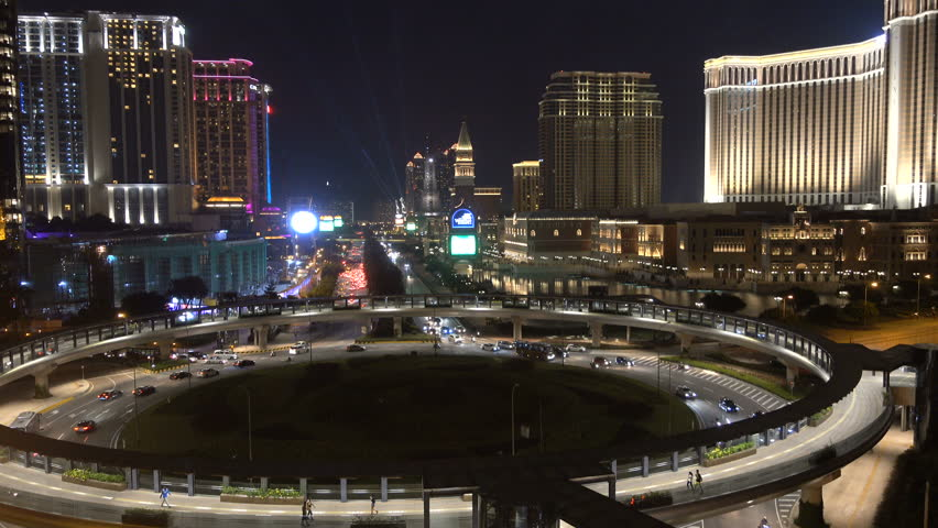 MACAU - 24 OCTOBER 2015: Overview of one of the most expensive casino strips in Macau. Since Xi Jinping's anti corruption measures, revenues in the gambling industry have gone down significantly.