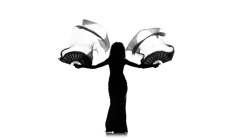 belly dancer silhouette exotic belly dancer girl dancing with two long fans whirl 9856