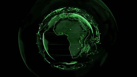 Digital Green shinny globe of Earth. Rotation of glossy planet with glowing particles. 3D animation of space with digital exploding Earth, Abstract world map background for news intro. full hd and 4K.