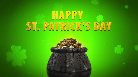 St Patrick Day Shamrock and Golden coins St Patrick Day symbols pot of gold