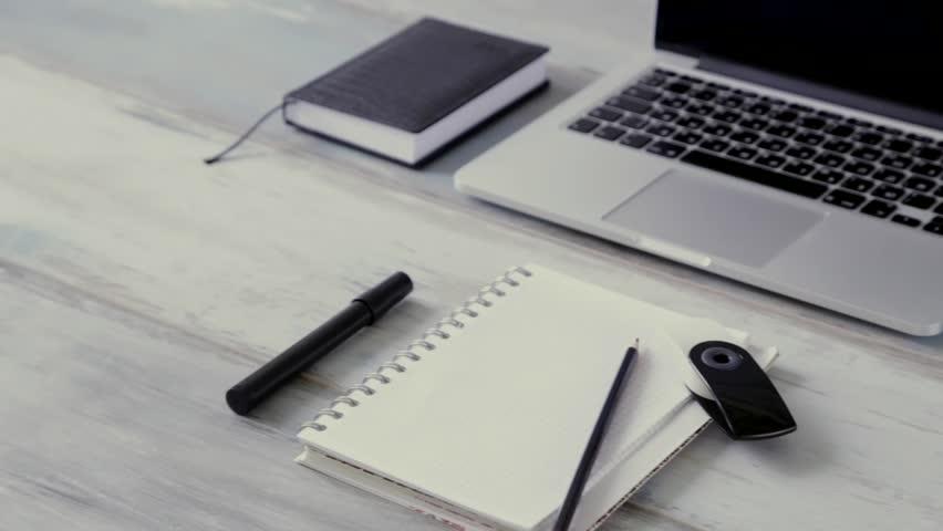 Workspace Work Desktop Black And White Business Stylish