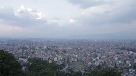 View of Kathmandu from Swayambhunath temple with sunset at Kathmandu in Nepal
