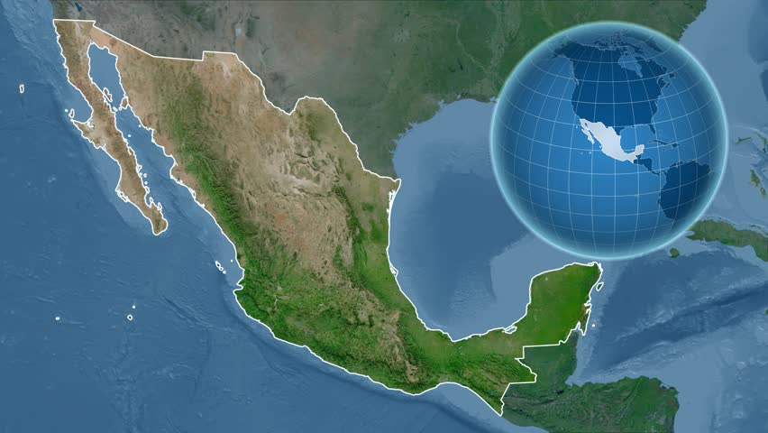 Stock video of mexico shape animated on the physical 14970736 4k0010mexico shape animated on the satellite map of the globe gumiabroncs Images