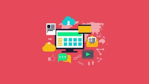 Content management. Web development, internet marketing, web design concept. Video animation, Full HD 1920x1080