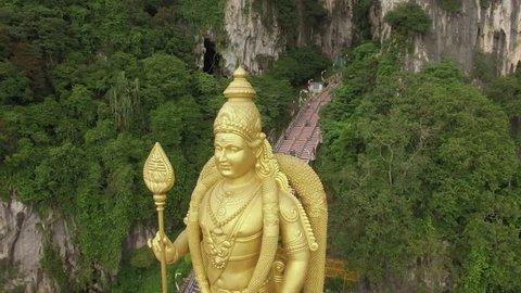 Flight over Murugan statue, Batu Caves