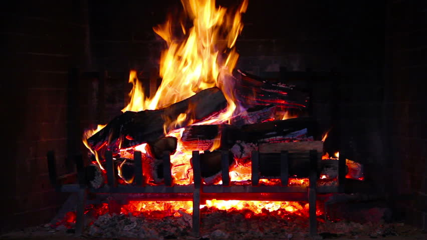 Flame In A Fireplace With A Dark Background Stock Footage Video ...