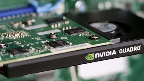 LONDON, UNITED KINGDOM - CIRCA 2016: Professional video card from NVIDIA - Nvidia Quadro seen in a modern powerful DELL HP Lenovo workstation