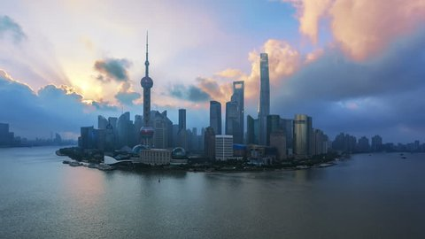 "4K (4096x2304) , Aerial View of China Shanghai Skyline and Huangpu River at Sunrise.  - >>> Please search similar: "" ShanghaiSkyline "" ."