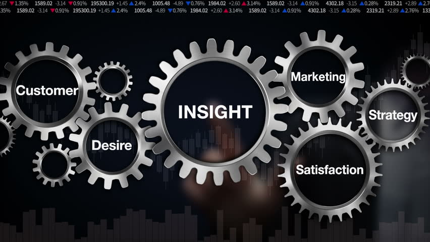 Gear with keyword, Customer, Desire, Satisfaction, Marketing, Strategy, Businessman touch screen 'INSIGHT' (included alpha)