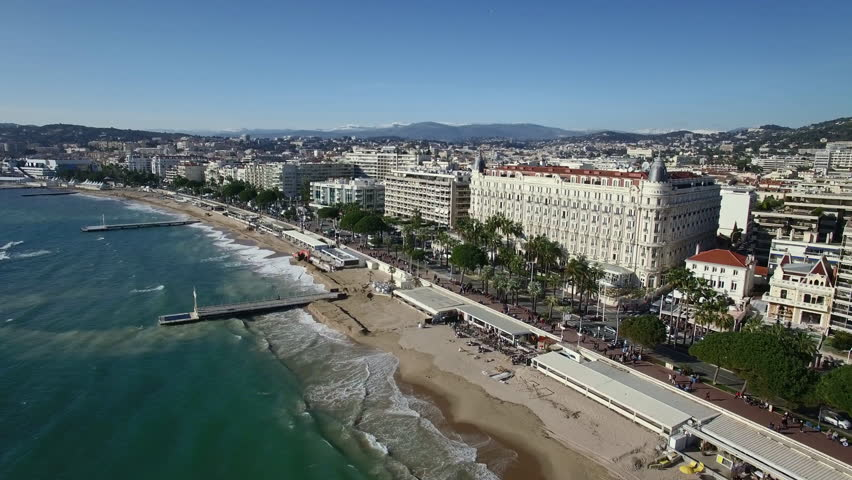 France, Cannes, Aerial view of the croisette, 4K UHDV movie (3840X2160) | Shutterstock Video #15046216