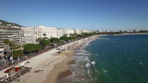 France, Cannes, Aerial view of the croisette, 4K UHDV movie (3840X2160)