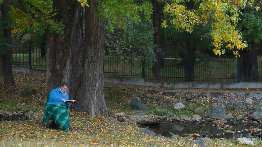 Senior woman enjoying his retirement in chair under autumn tree, reading book.   Shutterstock HD Video #1506338