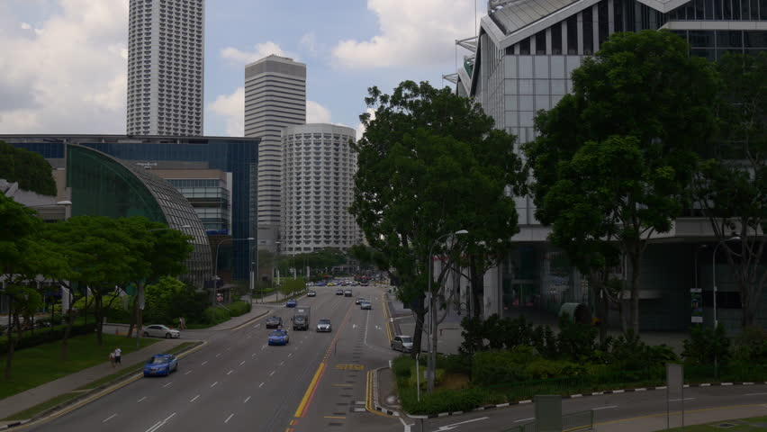 SINGAPORE - JANUARY 2016: raffles ave suntec city mall marina square traffic bridge panorama circa january 2016 singapore. | Shutterstock HD Video #15065653