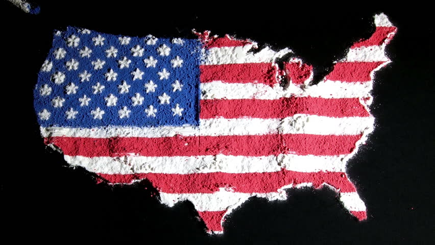 US Map And Flag Contiguous Black Background Stock Footage Video - Us map with glag
