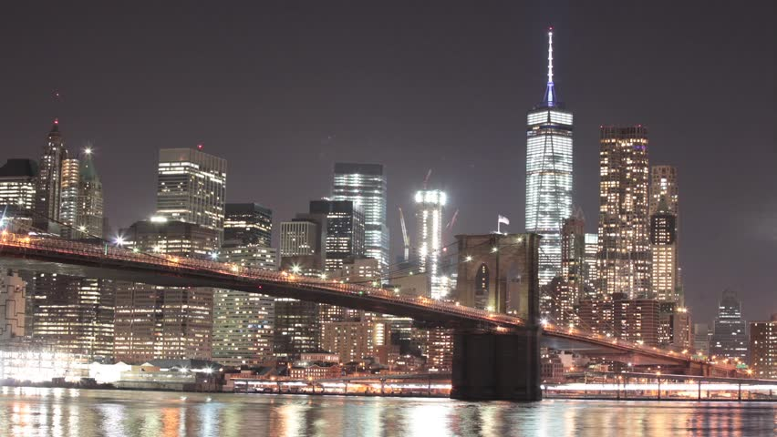 Hd0005a Day To Night Time Lapse Of New Yorks Brooklyn Bridge The