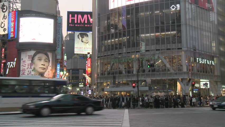 TOKYO - CIRCA 2009: (Timelapse Vierw) Rush hour in Shibuya, circa 2009 in Tokyo, Japan.