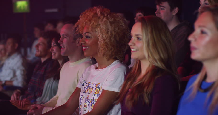 4K Theatre Audience Laughing At Comedy Show Or Funny Movie ...