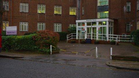 LONDON, JAN 2015: 4K Exterior of Mapother House, a part of Maudsley Hospital, London. Editorial. UK -- January, 2015